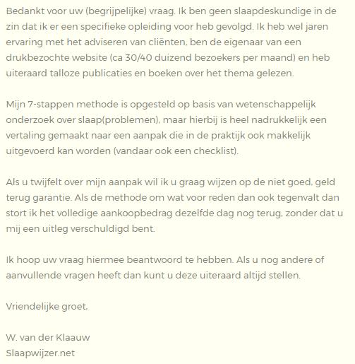antwoord slaapwijzer.net