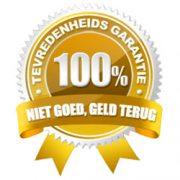 100% garantie label niet goed geld terug