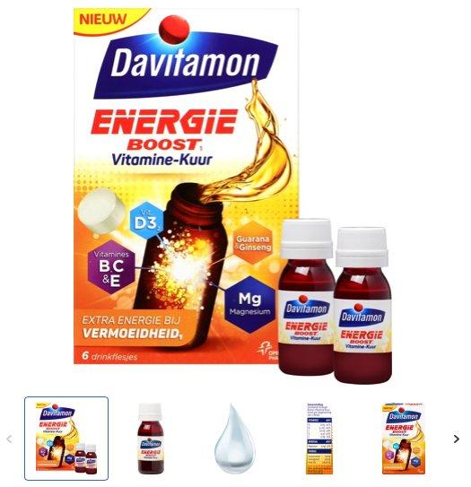 De verpakking van davitamon energie boost