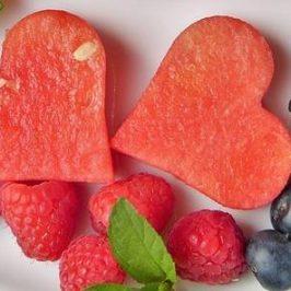 Meloen in de vorm van hartjes