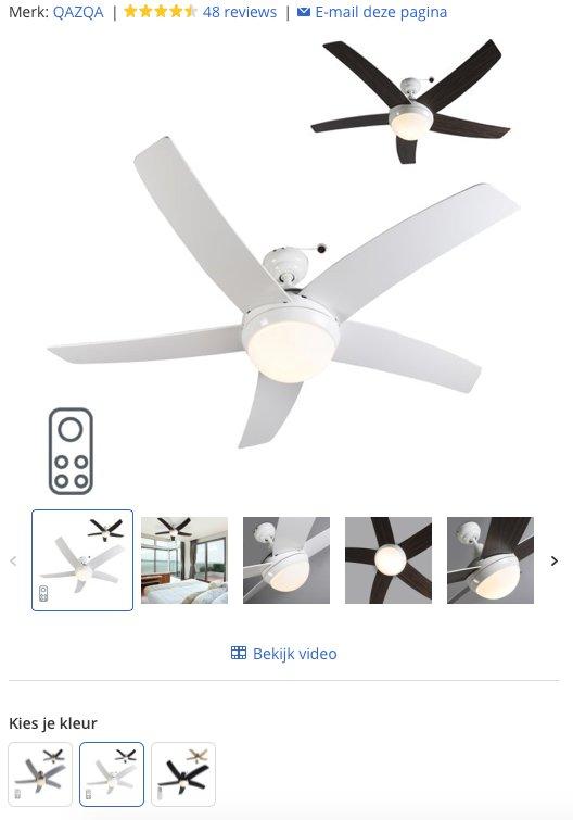 Een witte plafondventilator met 5 bladen