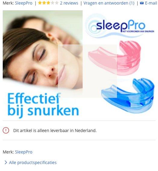 Een afbeelding van de sleeppro snurkbeugel